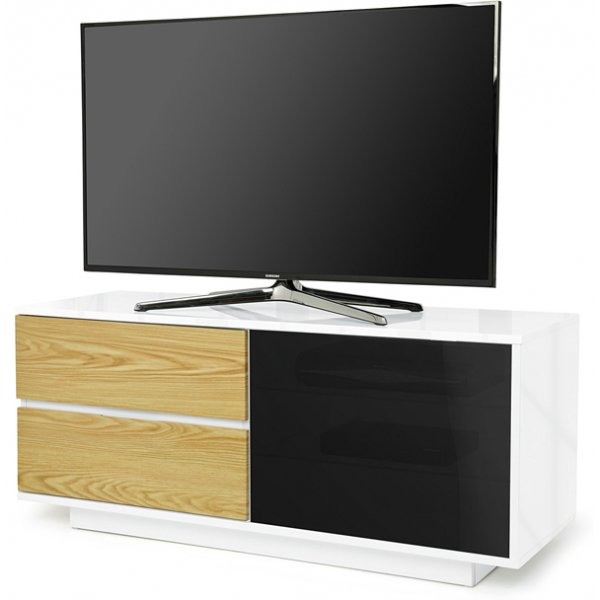 "MDA Gallus Ultra Gloss White and Oak TV Cabinet For 55"" TV\'s"