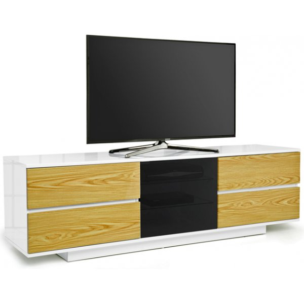 "MDA Avitus Ultra Gloss White and Oak TV Cabinet For 65"" TV\'s"