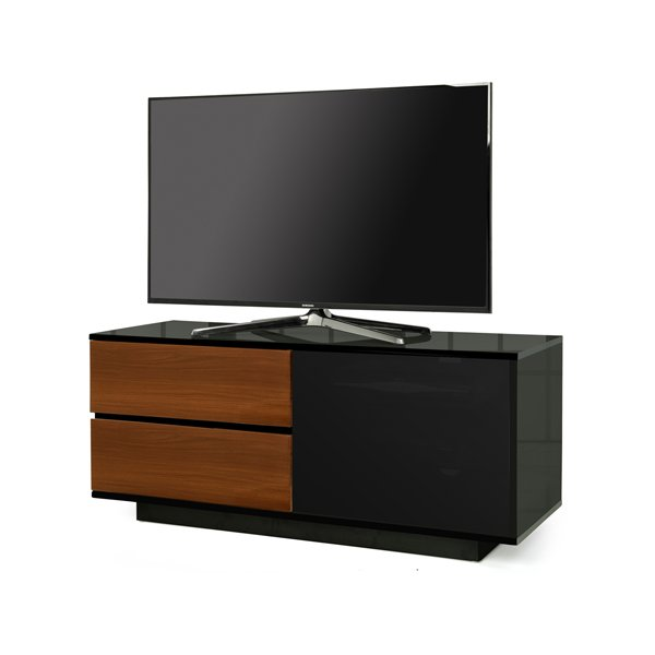 """MDA Gallus Ultra Gloss Black and Walnut TV Cabinet For 55\"""" TV\'s"""
