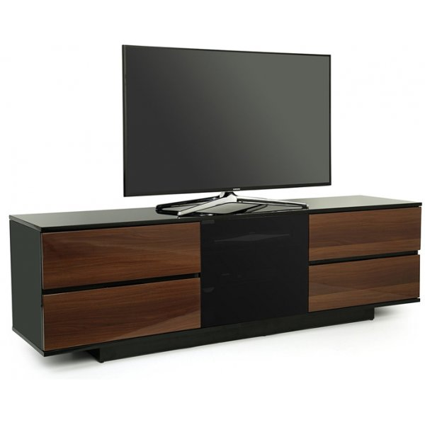 "MDA Avitus Ultra Gloss Black and Walnut TV Cabinet For 65"" TV\'s"