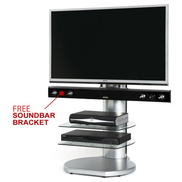Origin II S4 Silver Cantilever TV Stand - With Soundbar Bracket