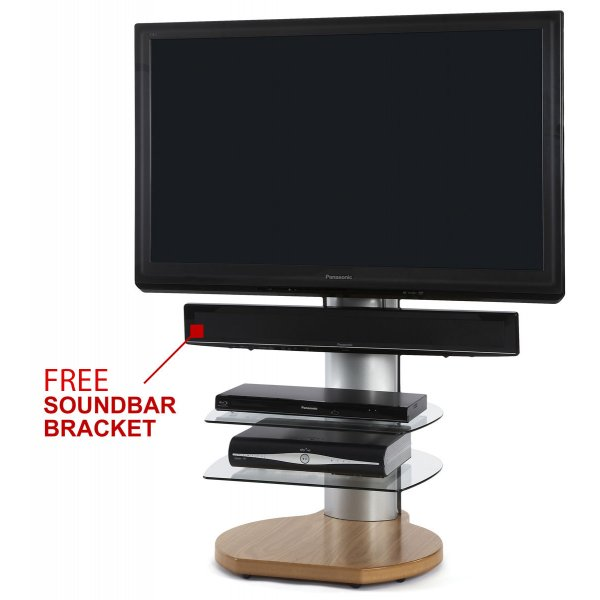 Origin II S4 Oak Cantilever TV Stand - With Soundbar Bracket