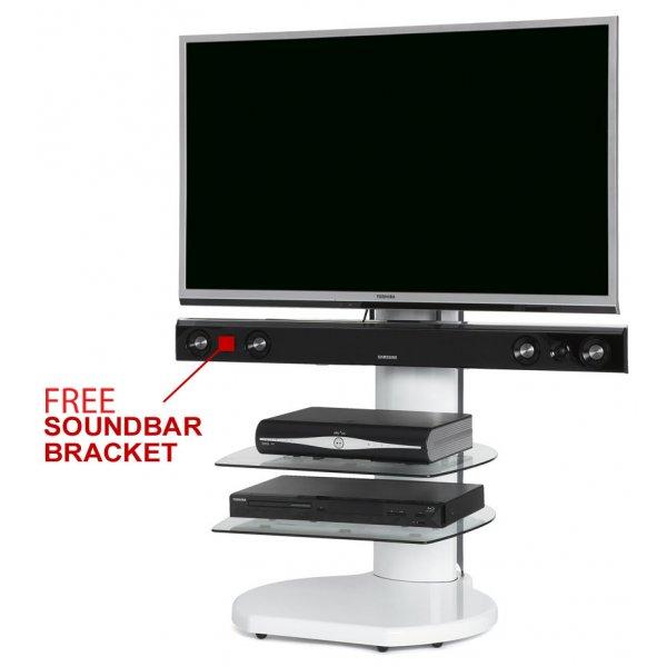 Origin II S4 White Cantilever TV Stand - With Soundbar Bracket