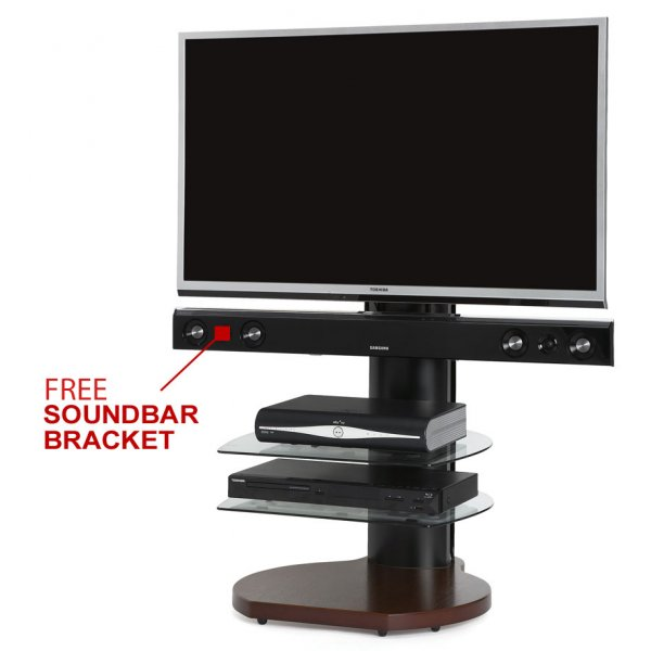 Origin II S4 Walnut Cantilever TV Stand - With Soundbar Bracket