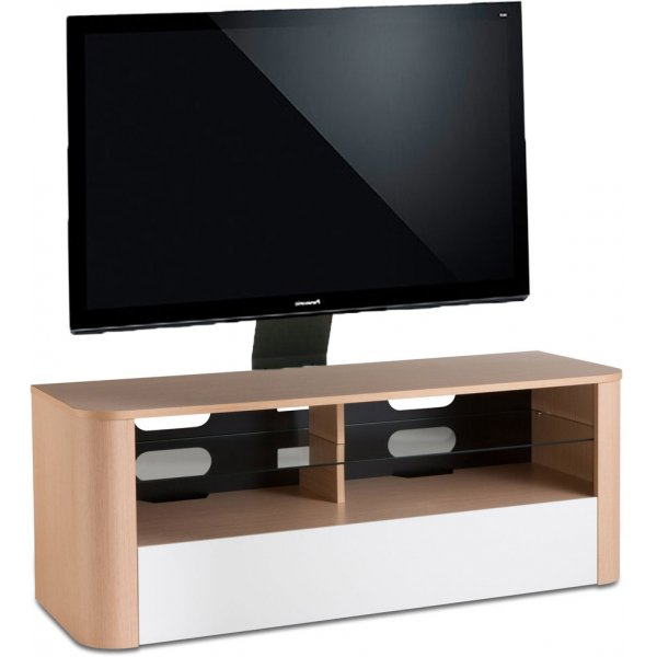 "Alphason Hugo 1260 Cantilever Stand for TVs up to 65"" - Light Oak and White"