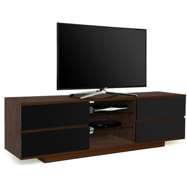 """MDA Avitus Walnut and Black TV Cabinet For Up To 65\"""" TVs"""