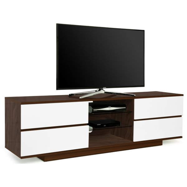 "MDA Avitus Walnut and White TV Cabinet For Up To 65"" TVs"