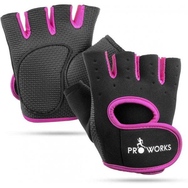ProWorks Women\'s Padded Grip Black Fingerless Gym Gloves - Small