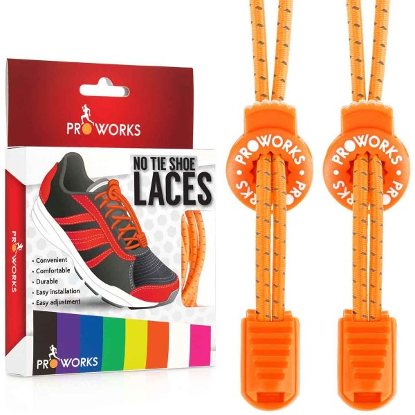 ProWorks No Tie Orange Reflective Shoe Laces