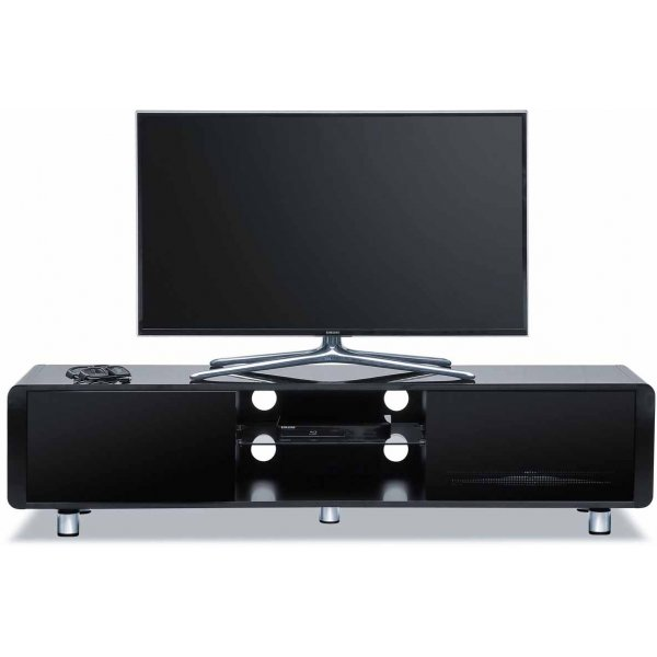 "Centurion Black Capri TV Stand with Remote Friendly Glass for up to 65"" TVs"