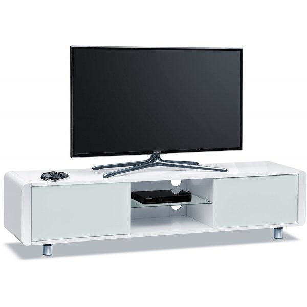 """Centurion Capri White TV Stand with Remote Friendly Glass for up to 65\"""" TVs"""