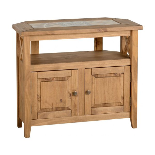 """TNW Pico Tile Top Corner TV Unit in Distressed Waxed Pine For Up To 40\"""""""