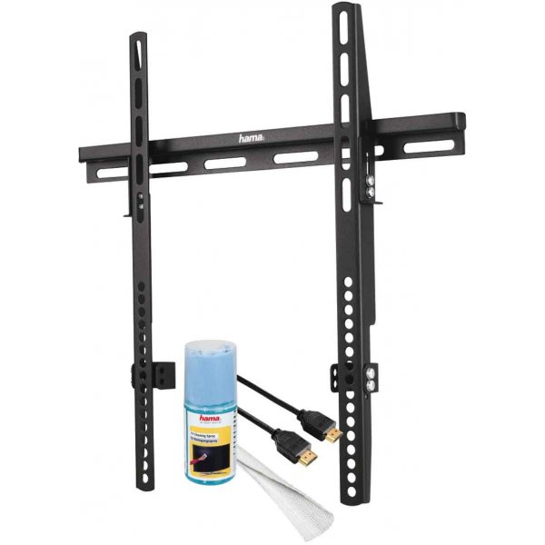 Hama Ultra Flat TV Wall Bracket For Up To 50 Inch TVs with FREE Cable and Screen Cleaner