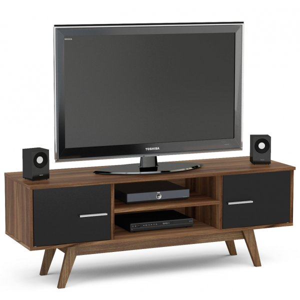 """TNW Shard TV Stand Unit for TVs up to 65\"""" - Walnut and Black"""