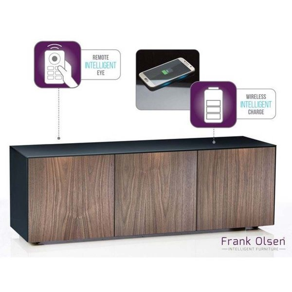 "Frank Olsen Black and Walnut TV Stand for up to 70"" TVs Fully Assembled"