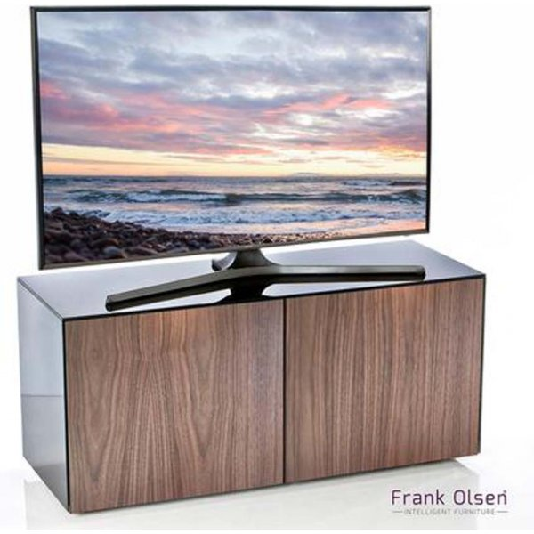 "Frank Olsen INTEL1100BLK-WALN Black and Walnut TV Stand for up to 55"" TVs"