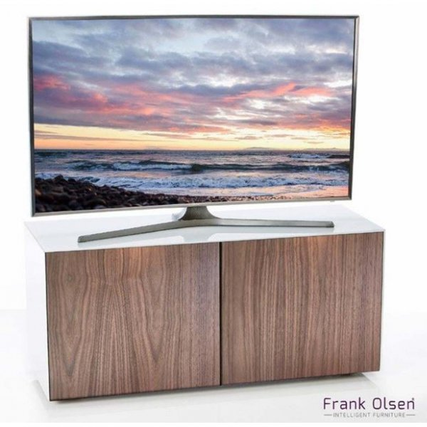 "Frank Olsen White and Walnut TV Stand for up to 55"" TVs"