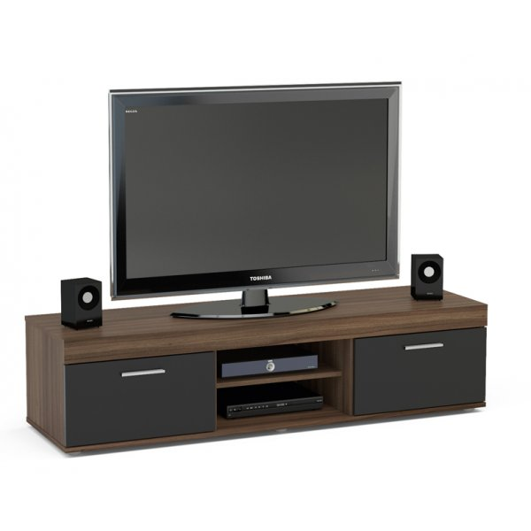 """TNW Carnaby TV Stand Unit for TVs up to 65\"""" - Walnut/Black"""