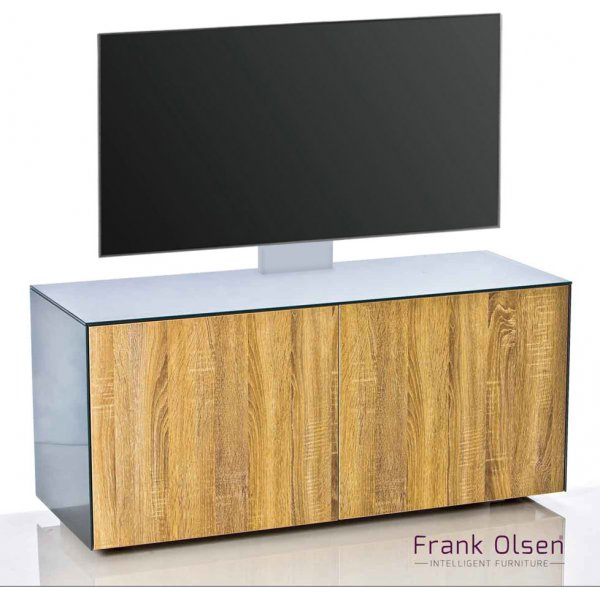 Frank Olsen INTEL1100 Grey & Oak Cantilever TV Cabinet For TVs Up To 55""