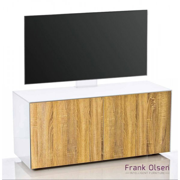 "Frank Olsen INTEL1100 White & Oak Cantilever TV Cabinet For TVs Up To 55\"""