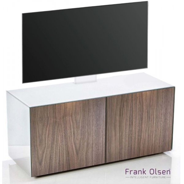 Frank Olsen INTEL1100 White & Walnut Cantilever TV Cabinet For TVs Up To 55""