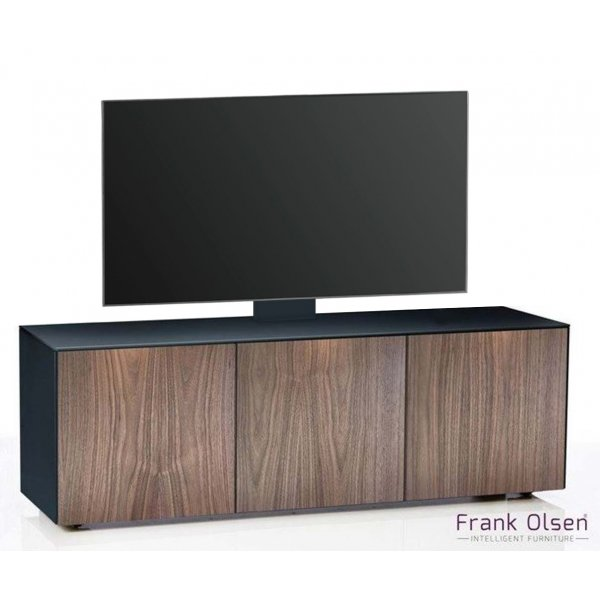 "Frank Olsen INTEL1500 Black & Walnut Cantilever TV Cabinet For TVs Up To 60"" Fully Assembled"