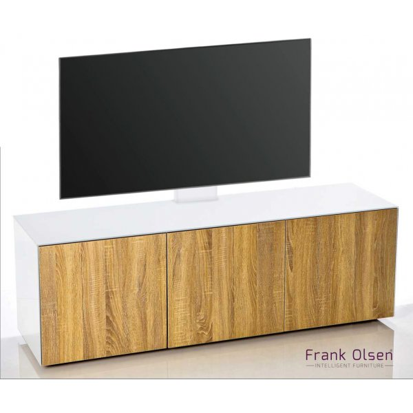 Frank Olsen INTEL1500 White & Oak Cantilever TV Cabinet For TVs Up To 60""