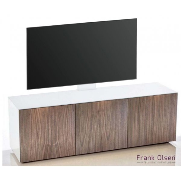 Frank Olsen INTEL1500 White & Walnut Cantilever TV Cabinet For TVs Up To 60""