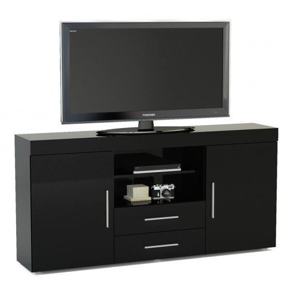 "TNW Carnaby Large High Gloss TV Unit For Up To 65"" - Black"