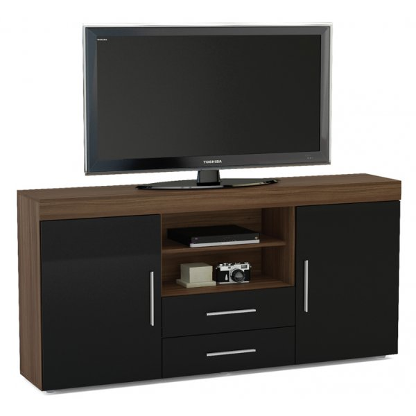 "TNW Carnaby Large High Gloss TV Unit For Up To 65"" - Walnut/Black"
