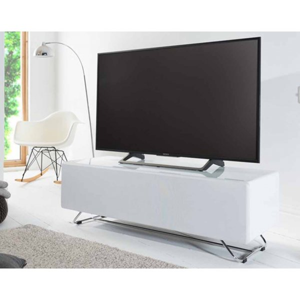 Alphason CRO2-1200CPT Chromium Concept White TV Stand with Speaker Mesh Front