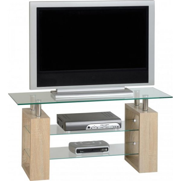 "Valufurniture Naples TV Stand For Up To 50"" - Sonoma Oak Effect Veneer"