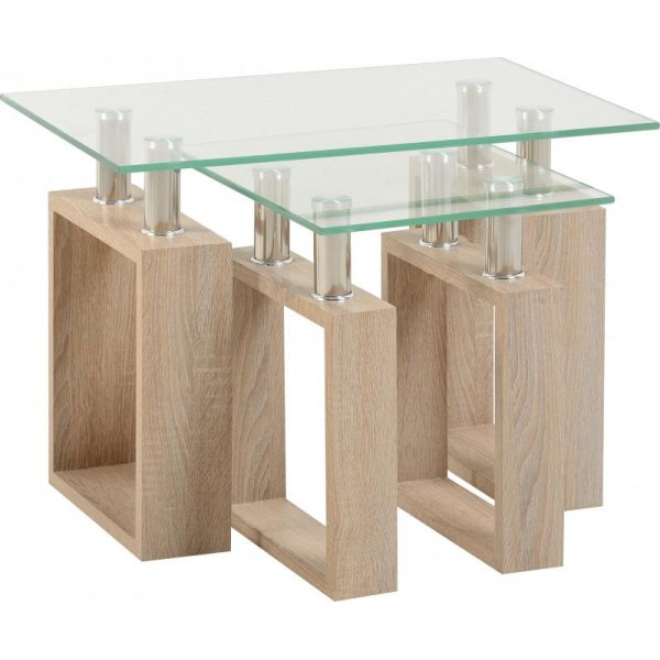 Valufurniture Naples Nest of Tables - Sonoma Oak Effect Veneer