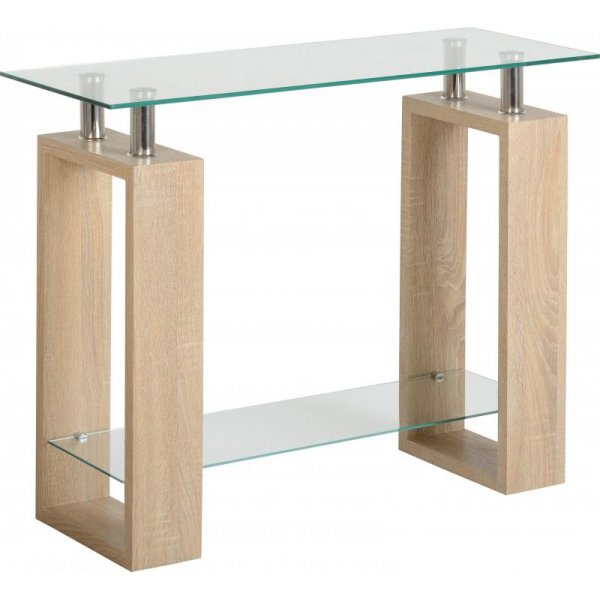 Valufurniture Naples Oak Effect Console Table - Sonoma Oak Effect Veneer