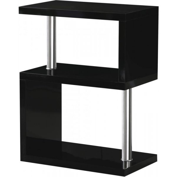 Valufurniture Charisma 3 Shelf Unit in Black Gloss/Chrome