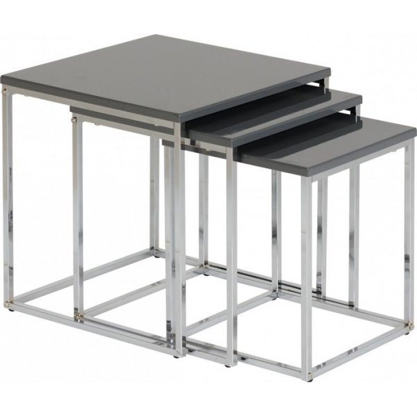 Valufurniture Charisma Nest of Tables in Grey Gloss/Chrome