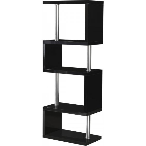 Valufurniture Charisma 5 Shelf Unit in Black Gloss/Chrome
