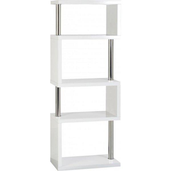 Valufurniture Charisma 5 Shelf Unit in White Gloss/Chrome