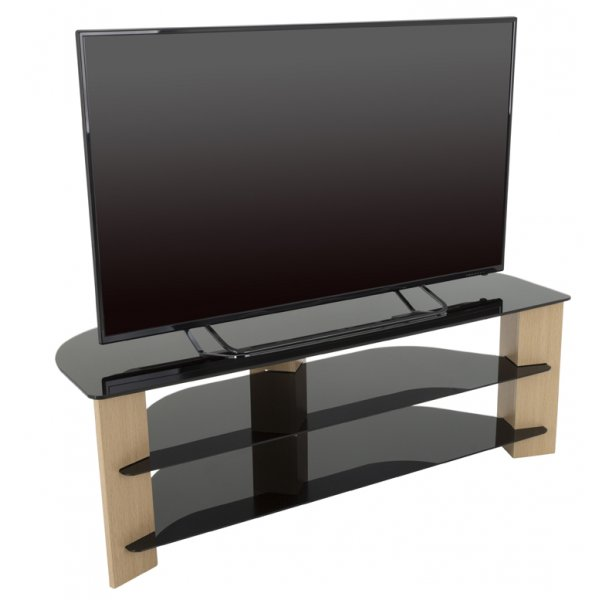 "AVF FS1300VAROB Varano Corner TV Stand For Up To 70"" - Oak/Black"