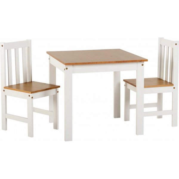 ValuFurniture Ludlow 1+2 Dining Set in White/Oak Lacquer