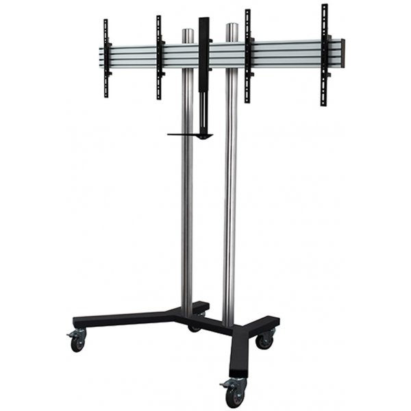 "B-Tech Universal Twin Screen Trolley Stand for up to 55"" Screens - with camera shelf"