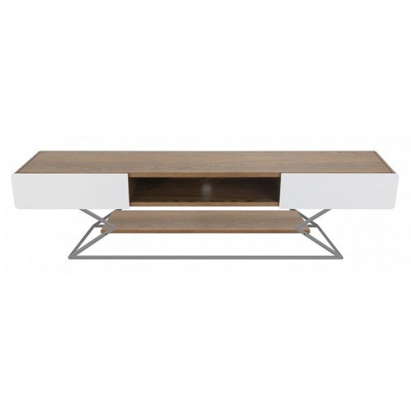 "AVF Plaza Flat TV Stand For Up To 85"" - Walnut/Gloss White"
