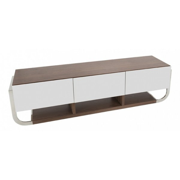 "AVF Clifton Flat TV Stand For Up To 85"" - Walnut/Gloss White"