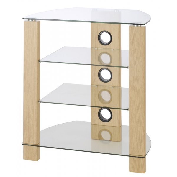 TNW Vision 4 Shelf Hi-Fi Stand - Oak & Clear