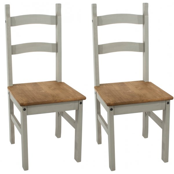 Core Products Corona Grey Pair of Solid Pine Chairs