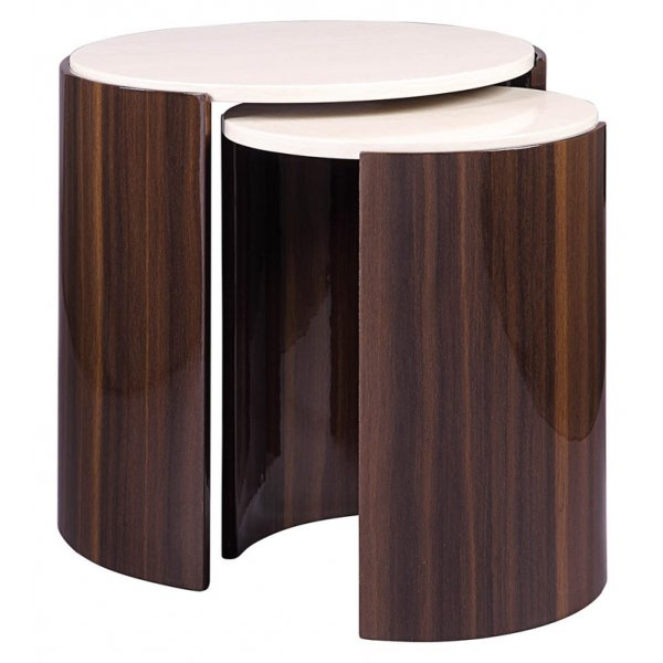 Jual JF905 Milan Gloss Walnut and Cream Nest of Tables