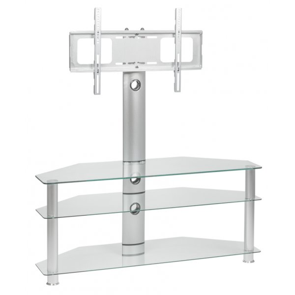 """MMT CC63 Clear Cantilever Corner TV Stand with Swivel for up to 55\"""" TVs"""