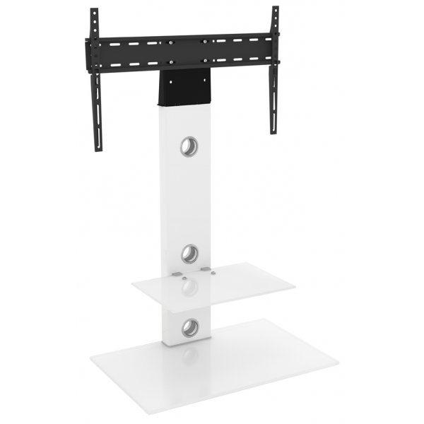 "AVF FSL700LESWW Lesina Flat Pedestal TV Stand 700 For Up To 65"" - Satin White / White Glass"