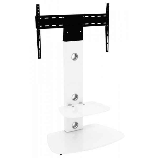 AVF FSL700LUCSWW Lucerne Curved Pedestal TV Stand 700 Satin White / White Glass