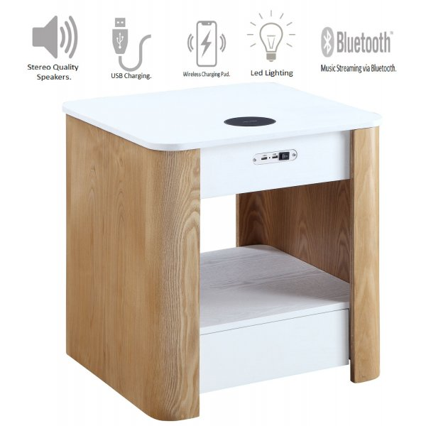 Jual JF404 San Francisco Bedside/Lamp Table with speaker - Ash